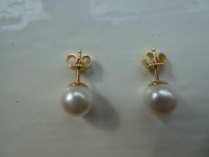 MIKIMOTO PEARL EARRINGS 8MM WITH GOLD FITTINGS. WITH ORIGINAL RECEIPT. USED ONCE