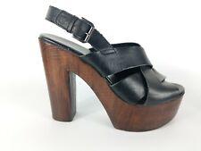 Topshop Black Leather High Heel Slingback Shoes Uk 4 Eu 37