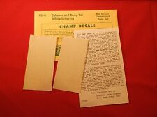Champ Decals HO HD-8 Caboose & Camp Car White Lettering NOS New Old Stock A7