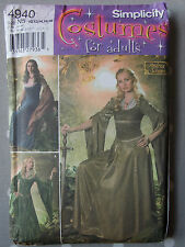 Uncut Simplicity 4940 Medieval Costume Sewing Pattern Bust 32.5 34 36 38 40""