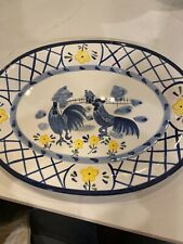 Bella Casa Blue, White and Yellow Rooster Platter Oval 16x12