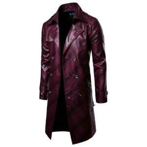Men PU Leather Double-breasted Lapel Long Windbreaker Coat Slim Jacket fashion t