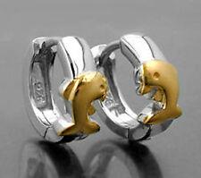 925 ECHT SILBER *** Kinder Delfin Delphin Creolen Ohrringe vergoldet