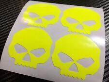 4x FLUORESCENT UV YELLOW Skulls Motorcycle Helmet Stickers SAFETY HiViz