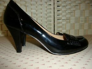 Size 3.5 (5.5w US) black patent leather heeled loafer shoes from Nine West.