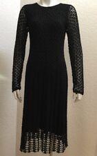 Vintage Kroshetta By Papillon Black Crochet Dress Boho Hippie Long Sleeve Size S