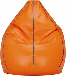 Bean bag Cover Leather Sofa Chair without Beans Orange Luxuries Home Decor Gift
