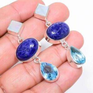 "Lapis Lazuli, Blue Topaz Gemstone Handmade Silver Jewelry Earring 2.1"" RE817"
