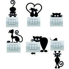 6  adesivi per interruttori removibili wall stickers gatti cat decalcomanie