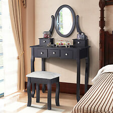 Retro Black Dressing Table Makeup Computer Desk With Stool Seat 5 Drawers NEW