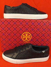 NIB TORY BURCH NAVY BRYANT QUILTED LEATHER LACE UP REVA SNEAKERS 8