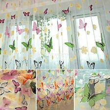 Chic Room Butterfly Voile Window Curtains Sheer Tulle Panel Drape Scarf Curtains