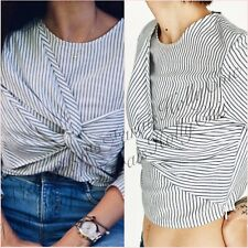 SALE Blue Striped Cropped Long Sleeve BlouseShirt Top Size M L UK 10 12 US 6 8