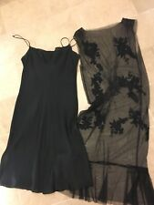 Alberta Ferretti Elegant Short Black Voile Cocktail Dress Size S
