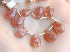 Natural Sunstone Faceted Pear Briolette Gemstone Beads