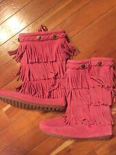 Minnetonka NEW fringe Pink boots girls size 2
