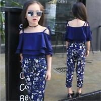 Kids Baby Girls Blouse+Floral Suit  Off Shoulder Pants Set Clothes Fashion 2pcs