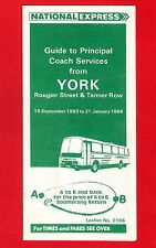 Timetable Guide ~ National Express - Principal Coach Services from York - 1983