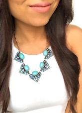 Turquoise Aqua Blue Gold Geometric Statement Cluster Fashion Jewelry Necklace
