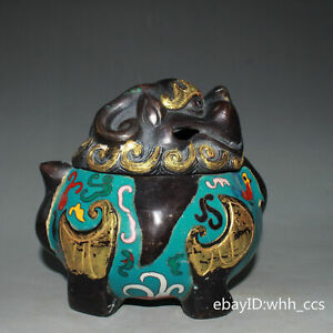 China antique Pure copper outline in gold Cloisonne Animal form incense burner