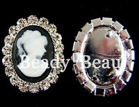 Pk 2 CAMEO LADY FLAT BACK CRYSTAL EMBELLISHMENTS CABOCHON MOBILE PHONE DECO CARD