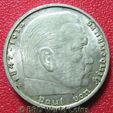 GERMANY THIRD REICH 1938 B 2 REICHSMARK SILVER HINDENBURG ISSUE VIENNA MINT 25mm