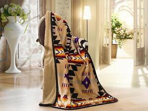 Navajo Print Brown Throw Blanket Sherpa Southwest Native American Indian