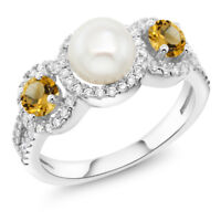 1.32 Ct Round Cultured Freshwater Pearl Yellow Citrine 925 Sterling Silver Ring