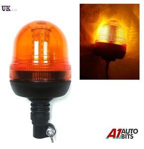 LED Beacon Warning Flashing Rotating Amber Flexible DIN Pole Tractor Light12-24v