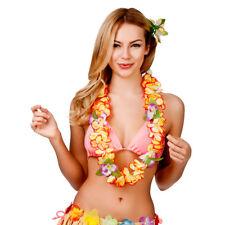 Hula Girl Hawaiian Orange Orchid Lei Womens Fancy Dress Accessory  8.5 cms