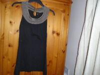 Black hip length sleeveless fine knit top, gold sparkle neck, TOPSHOP, size 8