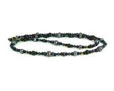 Black Iris Necklace - Thin Black Onyx, Freshwater Pearl and Beach Glass Necklace
