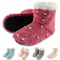 Women Pearls Plush Slippers Indoor Floor Shoes Ankle Boots Winter Warm Anti-Slip