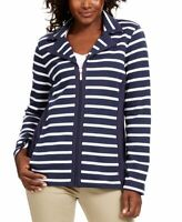 Karen Scott Womens French Terry Stripe Jacket Zip Up Size Large Navy White New
