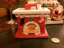 American Greetings Fireplace Porcelain 1987 Votive Candle Holder Christmas