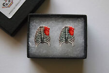 Anatomical Human Rib Cage & Heart Earrings - Anatomy Studs Medical Steampunk