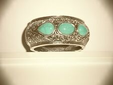 KATY DID SILVER PLATED BANGLE BRACLET WITH TURQUOISE STONES