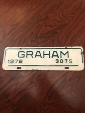GRAHAM NORTH CAROLINA 1978 CITY LICENSE PLATE 3075 Car Tag