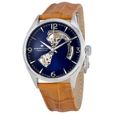 Hamilton Jazzmaster Open Heart Blue Dial Automatic Mens Leather Watch H32705541