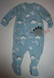 New Boys 6m JOY by Carter's Dinosaur Blue Fleece Sleep n Play Pajamas Snaps Up