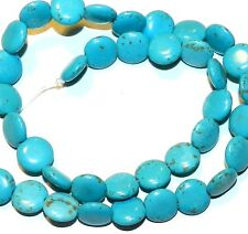 NG1261f Blue Turquoise w Brown Matrix 12mm Flat Round Coin Magnesite Beads 15""