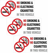 3 x NO Smoking or Electronic Cigarettes Vehicle Sticker Printed Vinyl Label Taxi