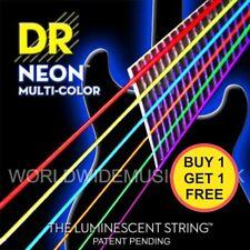 Twin pack de DR Néon Multi Couleur Fluorescente guitare acoustique cordes 11-50