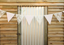 Fabric Bunting Flags IVORY Lace & Cotton Party Wedding Bedroom Decor HANDMADE