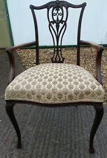 """Period Edwardian Mahogany """"Chippendale"""" Carver Chair, Pretty Scrolling"""
