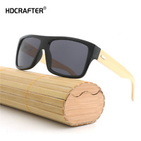 Men Women Bamboo Wooden Sunglasses Wood Temple Square Retro Outdoor Glasses New