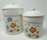 Retro Vintage Look Flowered Ceramic Canisters Set of Two