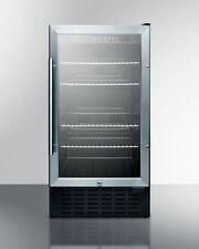 """Summit 18"""" Wide Built-in Beverage Cooler with Glass Door -Stainless"""
