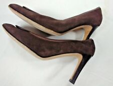 Gucci Womens Choclate Brown Suede Classic High Heels Pumps Size 9 1/2