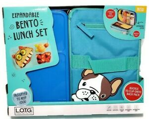 Fit & Fresh Dog Pug Bento Lunch Box On The Go Expandable Insulated School Kids